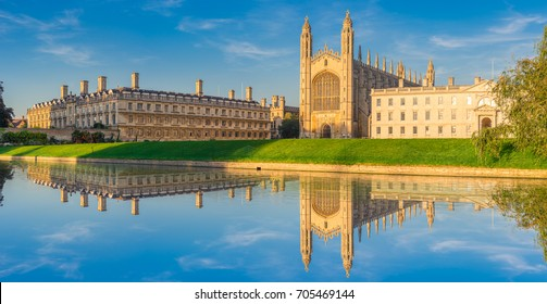 Waterfront panorama of college in Cambridge with reflection, UK