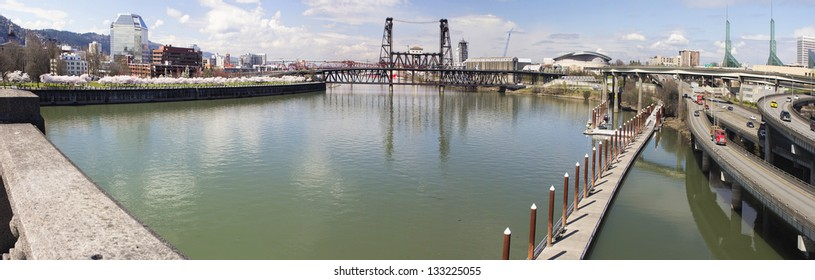 Waterfront Park and Eastbank Esplanade Along Willamette River from Burnside Bridge Portland Oregon Panorama