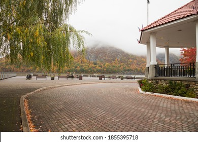 The waterfront with a partial view of the gazebo in Cold Spring, NY.