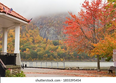 The waterfront with a partial view of the gazebo and the Hudson River in Cold Spring, NY.