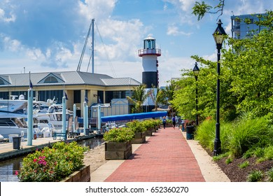 The Waterfront Promenade, a marina and lighthouse in Canton, Baltimore, Maryland.