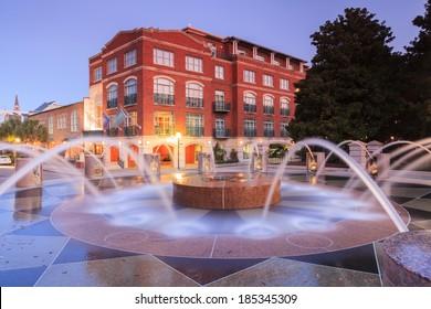Waterfront public fountain in downtown Charleston, South Carolina at dawn.