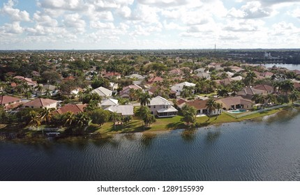 Waterfront real estate in suburban Florida aerial view
