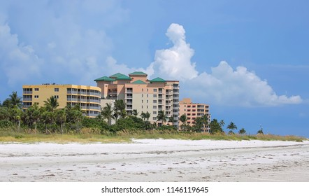 Waterfront resorts, timeshares, condos and apartment rentals on Fort Myers Beach, Florida, USA.