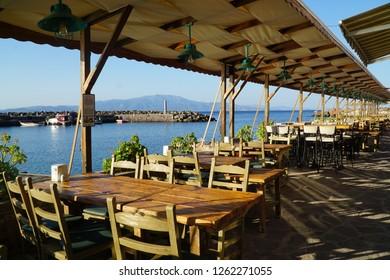 Waterfront restaurants in Assos, Turkey.