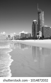Waterfront skyline with famous Q1 skyscraper - Surfers Paradise city in Gold Coast region of Queensland, Australia