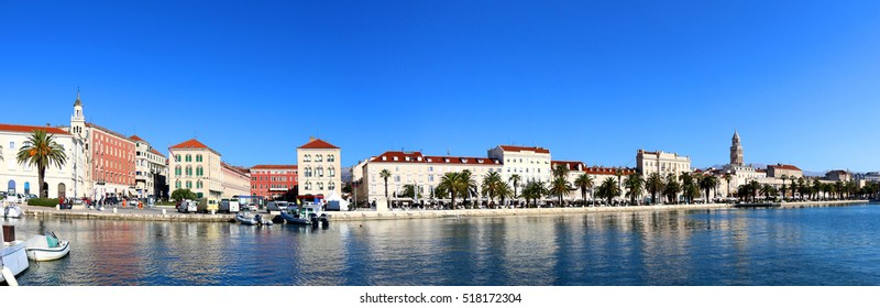 Waterfront in Split, Croatia with Saint Domnius bell tower. Split is popular touristic destination and UNESCO World Heritage Site.