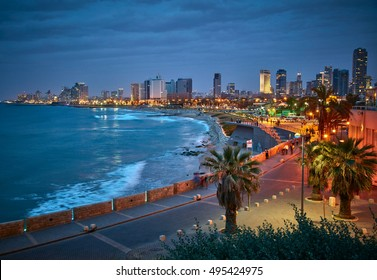 Waterfront of Tel Aviv. Night view from Jaffa.