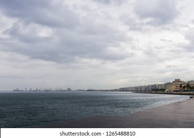 The waterfront of Thessaloniki, Greece, under a cloudy sky