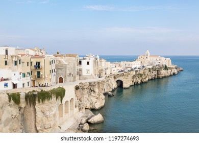 Waterfront of Vieste with the church of San Francesco in Gargano, Puglia, Italy