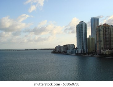 Waterfront view in Miami City hotels and condominiums, Brickell Key, Miami, Florida. Before sunset.