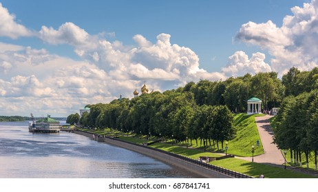Waterfront views of the city of Yaroslavl from the Volga river