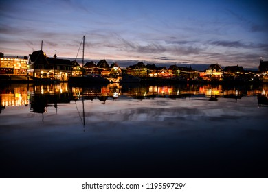 Waterfront of Volendam at night The Netherlands