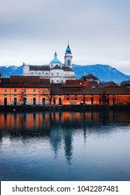 Waterfrontof Saint Ursus Cathedral in Solothurn. Solothurn is the capital of Solothurn canton, of Switzerland. It is located on the banks of Aare and on the foot of Weissenstein Jura mountains