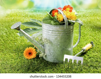 Watering can with a colourful orange gerbera daisy and summer flowers on a green lawn alongside a small fork in a summer gardening concept