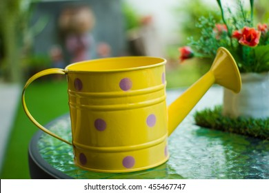 Watering can two color  on green grass