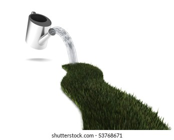Watering grass. Grass track and watering can isolated on white background. High quality 3d render.