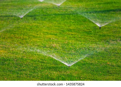 Watering green grass at lawn outdoors.  Several sprinklers spaying water over it. Horizontal color photography.