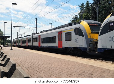 Waterloo, Belgium – June 11, 2017: A commuter train heading to Brussels at the Waterloo train station