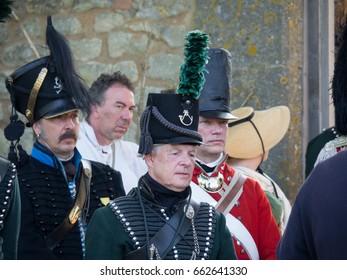 Waterloo, Belgium - June 18, 2017: Several actors during the re-enactment of the battle at Waterloo.