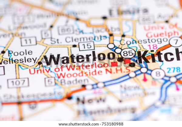 Waterloo Canada On Map Stock Photo (Edit Now) 753180988 on
