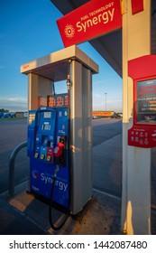 WATERLOO, NEW YORK - JULY 2, 2019: A Closeup shot of Exxon Gas Pump at Petro Gas Station..