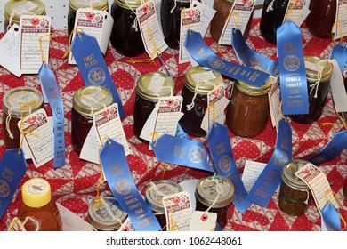 Waterloo, NY/USA - 07/22/17: Blue ribbon winning preserves on display at the Seneca County Fair in Waterloo, NY.