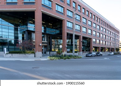Waterloo, On, Canada - October 17, 2020: Regional Municipality of Waterloo building in Waterloo, Ontario, Canada. The Regional Municipality of Waterloo is a regional municipality.