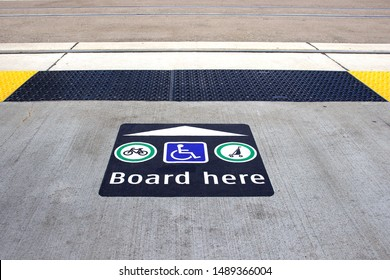 Waterloo, Ontario, Canada, August 2019: Accessible point of entry for light rail transit.