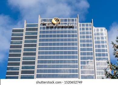 Waterloo, Ontario, Canada-September 30, 2019: Sun Life Financial office building in Waterloo, Ontario, Canada. Sun Life Financial, Inc. is a Canadian financial services company.