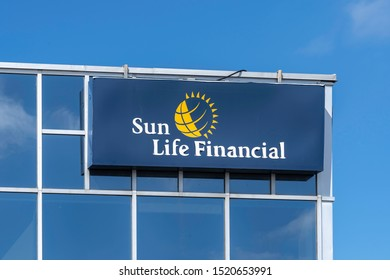 Waterloo, Ontario, Canada-September 30, 2019: Sign and logo of Sun Life Financial in Waterloo, Ontario, Canada. Sun Life Financial, Inc. is a Canadian financial services company.