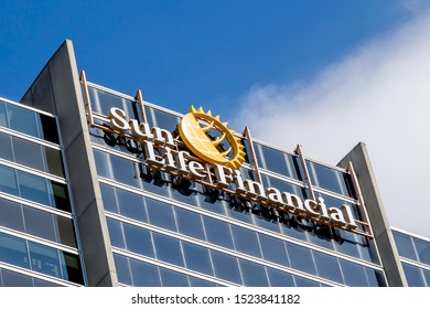 Waterloo, Ontario, Canada-September 30, 2019: Sign of Sun Life Financial on its office building in Waterloo, Ontario, Canada. Sun Life Financial, Inc. is a Canadian financial services company.