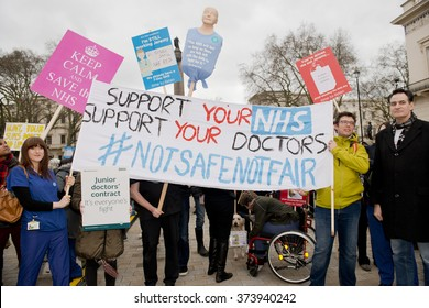 Waterloo Place, London, UK. 6th February 2016. EDITORIAL - Supporters with banners and placards, at a rally in central London,  in protest of government plans to change NHS junior doctor contracts.