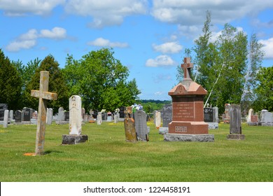 WATERLOO QUEBEC CANADA 07 09 2016:  Waterloo Cemetery Waterloo Monteregie Region Quebec, Waterloo is a small town, so therefore the cemetery, which was once known as Saint Luke Cemetery,