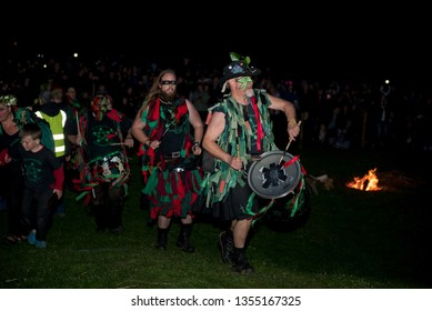 Waterlooville, Hampshire / UK - April 29 2017: Celebrations of the Pagan Spring Beltain (Beltane) Festival at Butser Ancient Farm the Wicker Man is burnt and historic crafts and dances are performed.