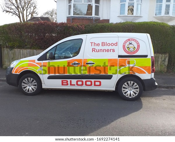 Waterlooville, Hampshire/England - March 21 2020: The Blood Runners van people who give up free time to transport emergency blood between hospitals