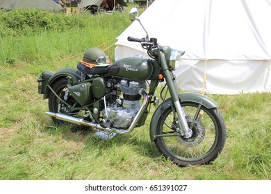 Waterlooville, UK - 28 May 2017: Motorcycle dating from the second world war. These bikes were used during the second world war by dispatch riders to carry communications often over rough ground.
