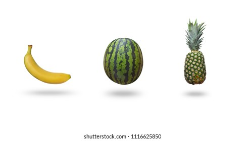 Watermelon, banana and pineappple isolated on white background with a shadow above a table