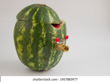 watermelon c tap to fill the juice on a light background