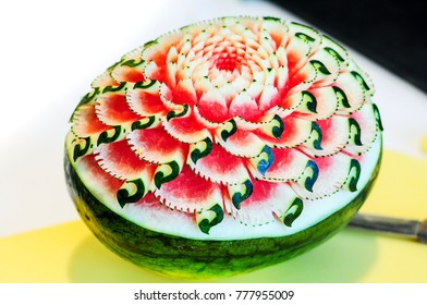 Watermelon Carving, fruit carving, craved watermelon flower