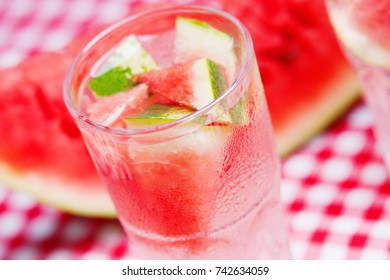 Watermelon cocktail and watermelon