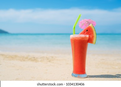 Watermelon cocktail on blue tropical summer beach in Phuket, Thailand. Summer, Vacation, Travel and Holiday concept.