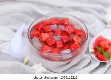 Watermelon ,coconut jelly and basil seeds in syrup delicious of summer concept.
