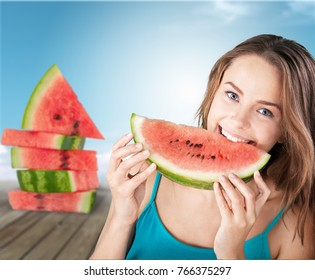 Watermelon, cool, girl.