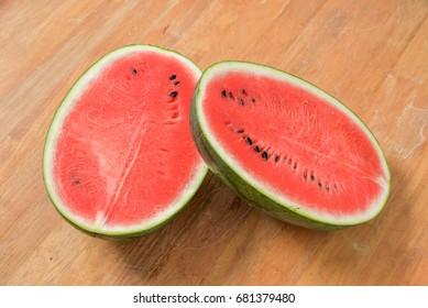 A watermelon cut in half