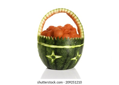 Watermelon fruit basket isolated in white background