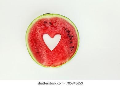 Watermelon heart isolated