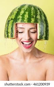 watermelon helmet and funny girl