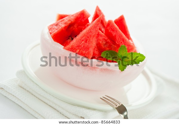 Watermelon in an ice bowl