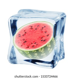 watermelon in ice cube, isolated on white background, clipping path, full depth of field